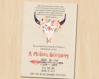 Mother Blessing, Blessingway Invitation, Rustic Blessingway Printable Invitation