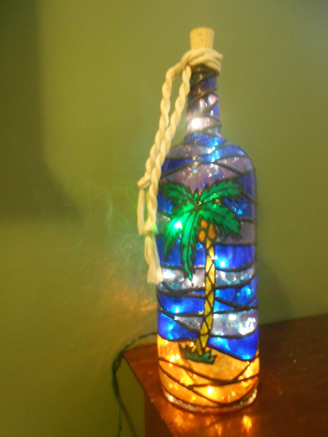 Palm tree inspired stained glass look lighted handpainted wine for How to stain glass jars with paint
