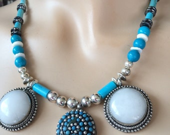 Native American Agate & Turquoise Silver Statement Necklace Wise BesdMaker Woman