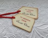 6 Vintage From Santa Gift Tags-Christmas Tags-Hang Tags-Party Favor Tags- - Stained Tags-Christmas gift tags-12,24