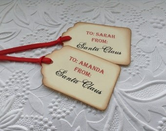 6 Vintage From Santa Gift Tags-Christmas Tags-Hang Tags-Party Favor Tags- - Stained Tags-Christmas gift tags-12,24