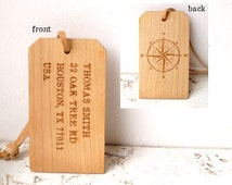 Luggage tag, personalized luggage tag, cherry wood custom engraved luggage tag, wedding gift, 5th year anniversary gift
