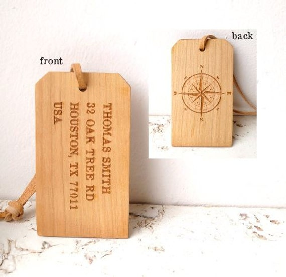 Personalised Luggage Tags Wedding Gift : luggage tag, cherry wood custom engraved luggage tag, wedding gift ...