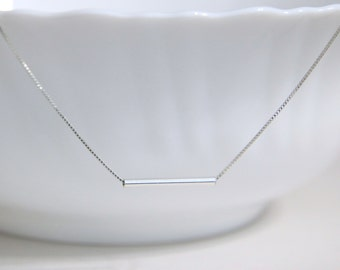 Sterling Silver Straight Tube Necklace, Sterling Silver Tube Pendant on Sterling Silver Necklace Chain