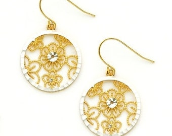 14K Two-Tone Floral Filigree Earrings, Floral Earrings, Filigree Earrings, Fancy Jewelry, Floral Jewelry, Gold Jewelry, Floral, Filigree