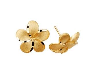 14K Gold Plumeria Earrings, Plumeria Earrings, Plumeria Jewelry, Floral Earrings, Floral Jewelry, Gold Plumeria, Earrings