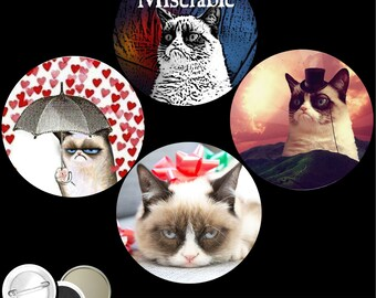 """Grumpy Cat Set of 4 PINBACK BUTTONS or magnets or mirrors I'm the tardar sauce tartar tarder pins badges 1.25"""" or 2.25"""" 1138"""