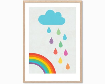Rainbow Clouds Poster : Modern Illustration Nursery Art Wall Decor Print 8 x 10 | INSTANT Digital Download Printable