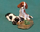 Double Trouble Parti-color: Cavalier King Charles Spaniel puppies investigating a frog.