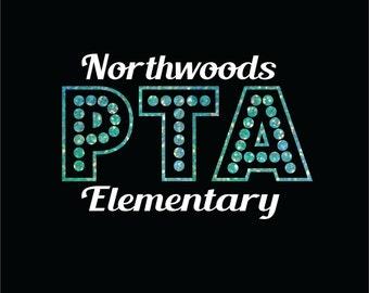 PTA or PTO DIY Iron On Bling Transfer for Chevron Pattern Teacher tshirts Kindergarten Teacher School Spirit Elementary School