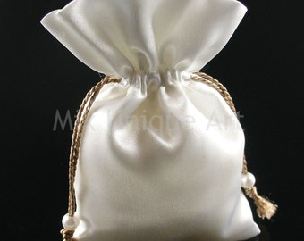 White silk pouch bag wedding favors gifts x-mas jewelry hand made