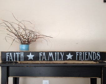 Faith Family Friends Sign, Faith Family Friends, Faith Sign, Family Sign, Friends Sign, Housewarming Gift, Wedding Gift, Wood Sign, Sign
