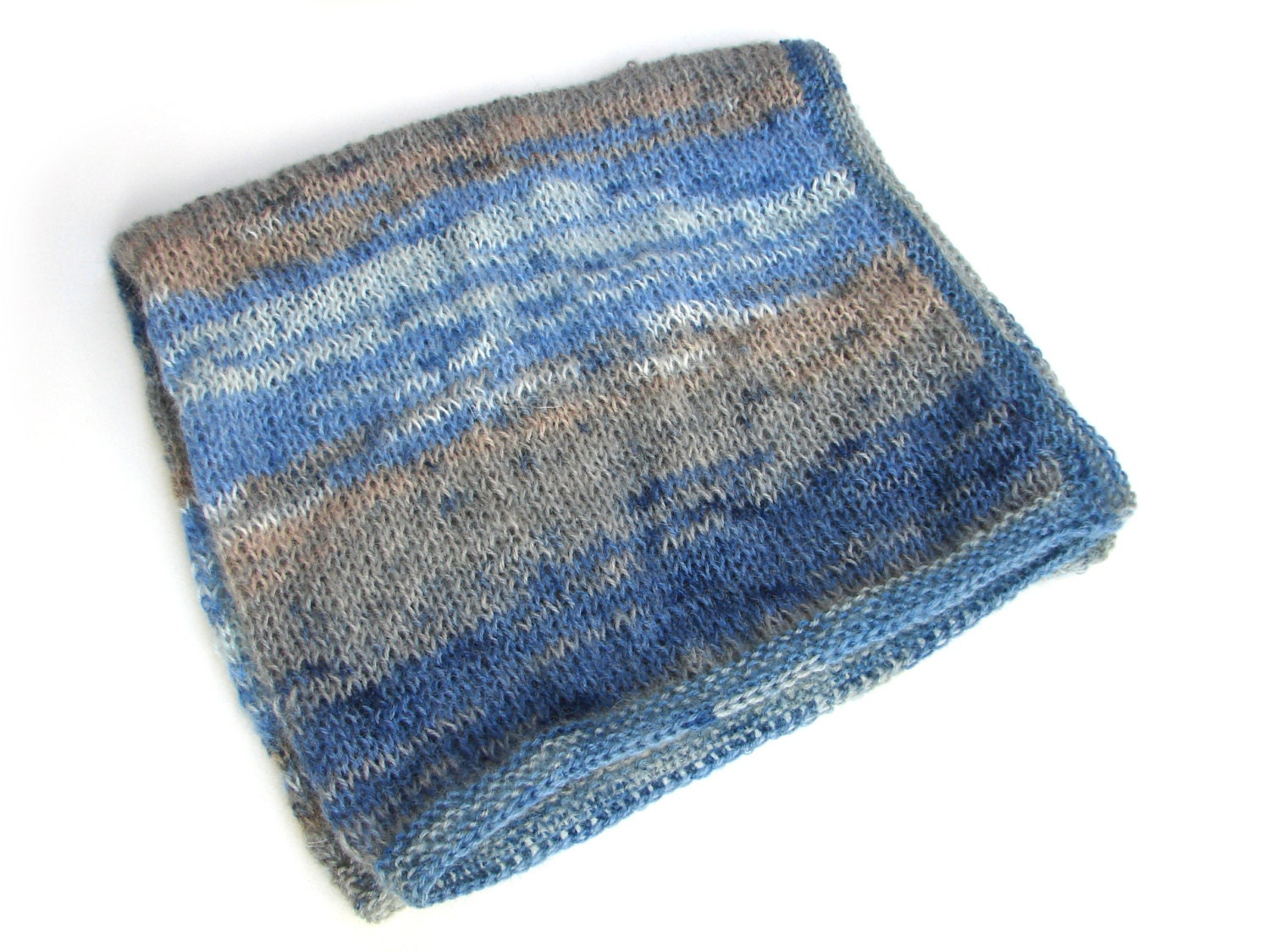 Baby boy blanket soft mohair knitted blanket baby wrap blue