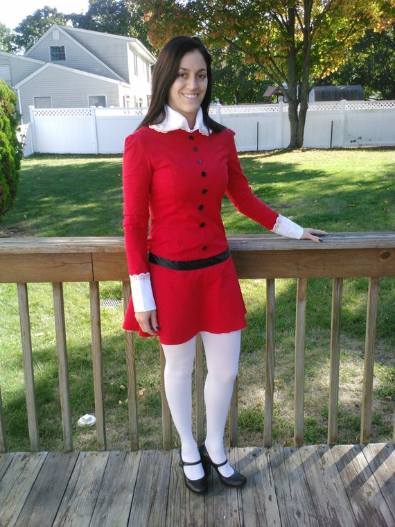 Veruca Salt Costume (Willy Wonka and the Chocolate Factory - 1971) Stretch knit (Teenage/Women sizes ONLY 4 - 22)