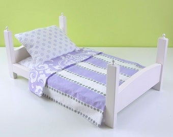 "15-18"" Doll Bed Linens, Lavender Stripes"