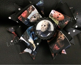 Limited edition Friday the 13th/ jason stacked bow