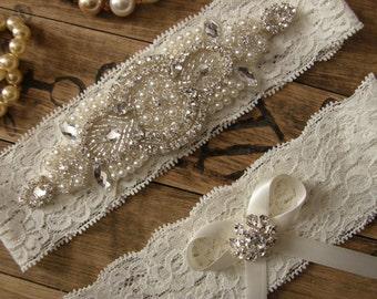 SALE / Garter / Crystal Rhinestone & Pearl Garter / Wedding Garters / Bridal Garter Set / Vintage Inspired Lace Garter / Ivory Lace