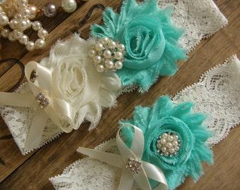 Garter / Wedding Garters / Lace Garter / Aqua Sky / Ivory /  Bridal Garter / Toss Garter  / Vintage Inspired