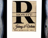 Family Name Burlap classic split block Initial, established and personalized just for you