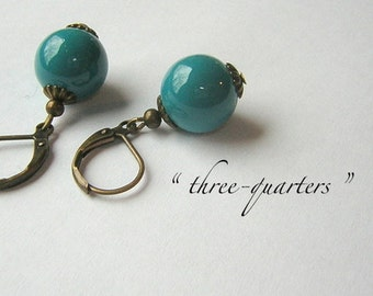 Earrings with pearl opal in petrol turquoise, glass bead, shabby ball nostalgic about