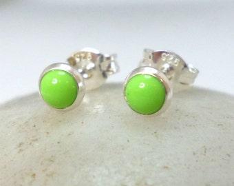 Gaspeite Sterling Silver Stud Earrings 4mm .. Gaspeite Studs .. Gaspeite Earrings .. Tiny Studs .. Handmade Jewelry