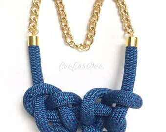 Blue Knotted Rope Necklace - 10mm