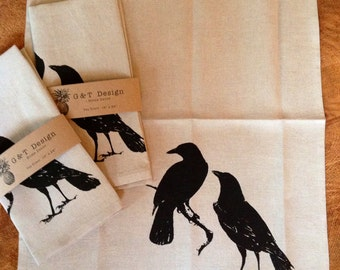 Black Crows Hand Screen Printed onto 100% Linen Cloth, Tea Towel, Kitchen Towel, Eco cloth, Hostess or Wedding Gift