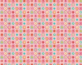 1 yard HAPPY FLAPPERS by Kelly Panacii for Riley Blake Circles pink