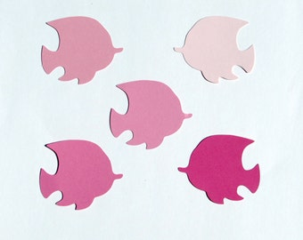 Pink Fish die cuts /25 pc set/ paper fish die cuts/ pink