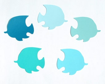 """Fish die cuts/ blue ombre color set / - 2"""",2.5"""",3"""",3.5"""" -  Party, Baby Shower, Place Card, scrapbooking, crafts"""
