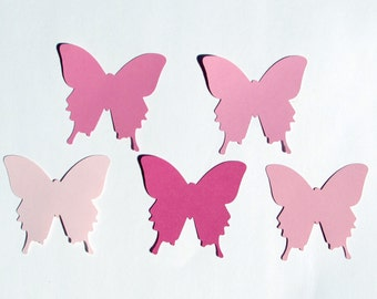 "Paper butterfly die cuts /pink/ 50pc/ size from  1.5"" to 8""/ great for tags, scrapbooking, baby shower"