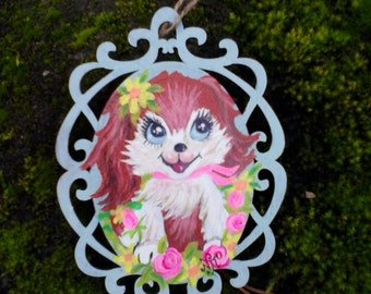 60s style spaniel puppy painting on decorative wood
