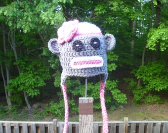 Girl Flower Sock Monkey Hat - Newborn to Child Sizes