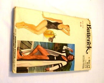Vintage1980s Butterick 4877 Misses swimsuit and cover up sewing pattern
