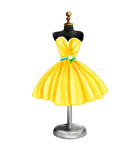 Yellow Dress on Dress Form Digital Illustration Clipart by I365Art