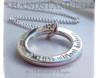 Personalised necklace, Luxurious personalised, sterling silver, hoop, any wording, long worded sentiment, keepsake gift, family sentiment