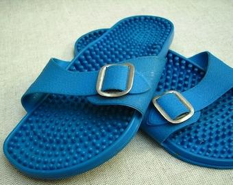 Vintage Blue Massaging Flip Flops 1980s