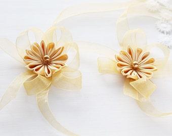 Bridesmaid Corsage, Mustard Flower Wrist Corsage, Kanzashi Corsages, Bridesmaid Gift, Prom Corsage, Flower Girl Corsages, Wrist Corsage