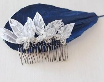 Butterflies Hair Comb, Beaded Bridal Comb, Wedding Hair Comb, French Beaded Comb, Butterflies Hair Piece, Beaded Hair Comb, Bridal Hair Comb