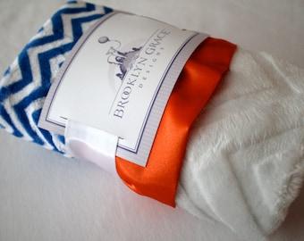 Royal Blue and White Mini Chevron with White Embossed Chevron & Orange Satin Lovie Blanket, Blue Satin Trim, Baby, Florida Gators