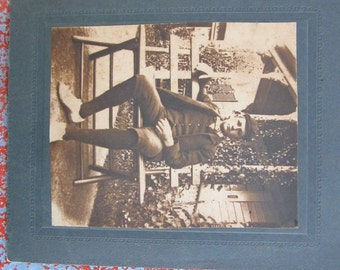 Antique Cabinet Card - Casual Young Man Portrait  - Garden Portrait of a Young Man