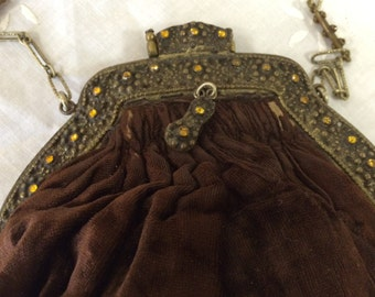 Victorian Brown Velvet Purse