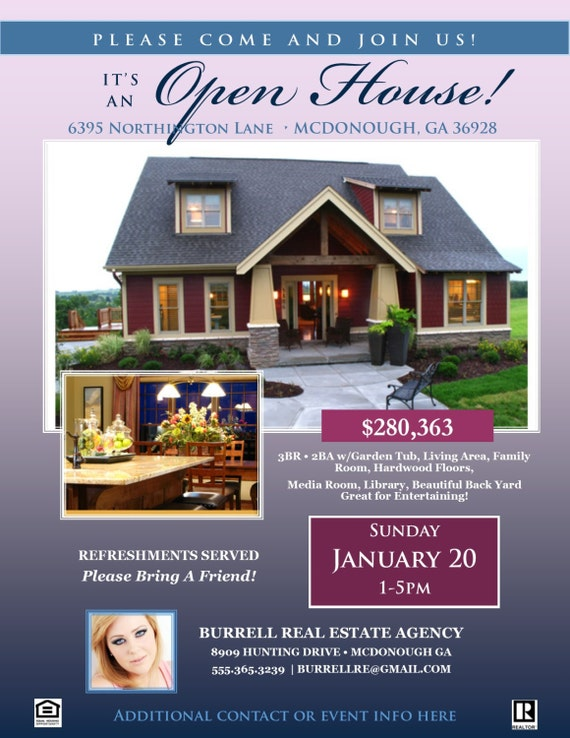 Attractive REAL ESTATE Open House FLYER Template   Microsoft Publisher Template   Home  Listing Flyer *Instant Download* Windows Users Only Ideas Open House Flyers