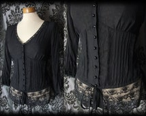 Goth Black Sheer Lace WOEFUL Fitted Corset Panel Blouse 8 10 Victorian Governess