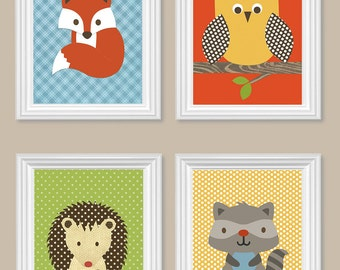 Woodland Nursery Raccoon Fox Hedgehog Owl Yellow Green Orange Brown Blue Gender Neutral Boy Girl Room Decor Toddler Woodland Canvas Prints