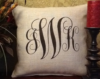 Monogram 3 Initial Stenciled Pillow