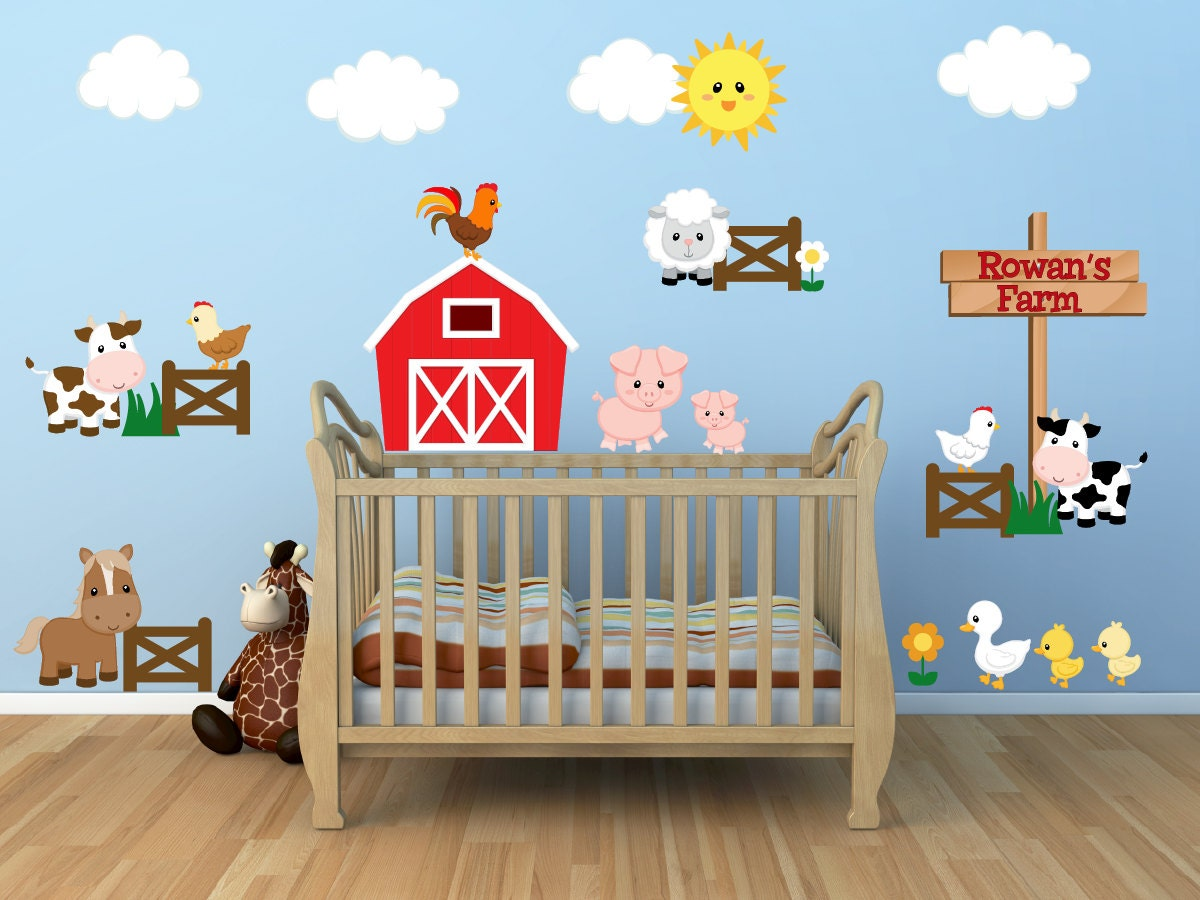 Kids room wall decals farm wall decals farm animal decals for Barnyard wall mural