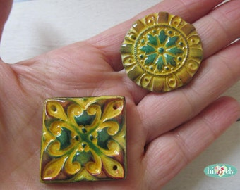 Handmade 2 polymer clay faux ceramic  beads -  pendants  made by Hilla (089)