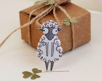 Sheep  Lamb brooch pin Animal brooch animal jewelry Lamb  Sheep jewelry For sheep lamb lovers Cute Lamb clay lamb (0061)