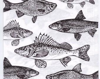 Decoupage Napkins | Vintage Collection of Sport Fish | Fishing Napkins | Marine Napkins | Sport Napkins | Paper Napkins for Decoupage